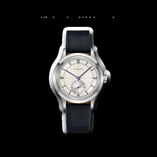 Armbanduhr Longines Heritage Classic mit silberfarbenem Zifferblatt und Kalbsleder-Armband bei Brogle