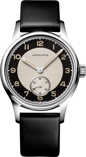 Armbanduhr Longines Heritage Classic Tuxedo mit zweifarbigem Zifferblatt und Kalbsleder-Armband