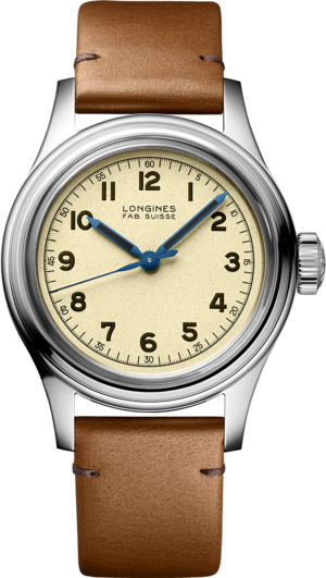 Armbanduhr Longines Heritage Military Marine Nationale mit beigefarbenem Zifferblatt und Kalbsleder-Armband