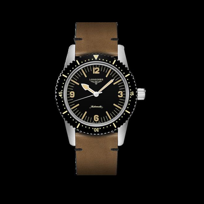 Herrenuhr Longines Heritage Skindiver 42mm mit schwarzem Zifferblatt und Kalbsleder-Armband bei Brogle