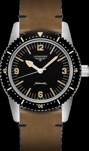 Herrenuhr Longines Heritage Skindiver 42mm mit schwarzem Zifferblatt und Kalbsleder-Armband