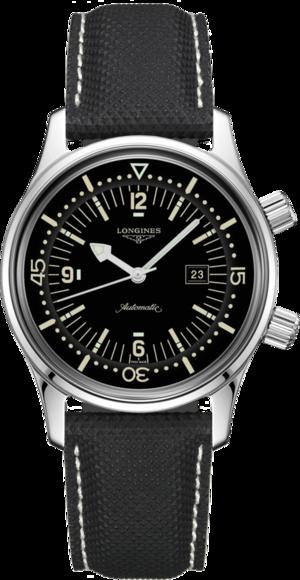 Armbanduhr Longines Legend Diver Automatik 36mm mit schwarzem Zifferblatt und Kautschukarmband