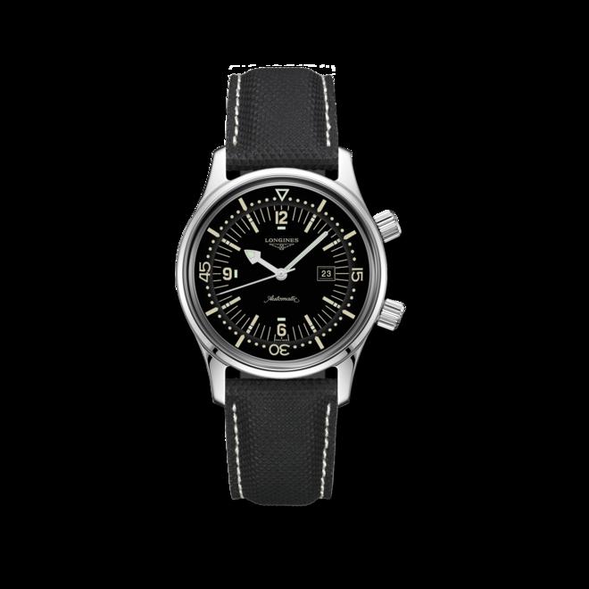 Armbanduhr Longines Legend Diver Automatik 36mm mit schwarzem Zifferblatt und Kautschukarmband bei Brogle