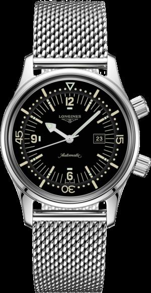 Armbanduhr Longines Legend Diver Automatik 36mm mit schwarzem Zifferblatt und Edelstahlarmband