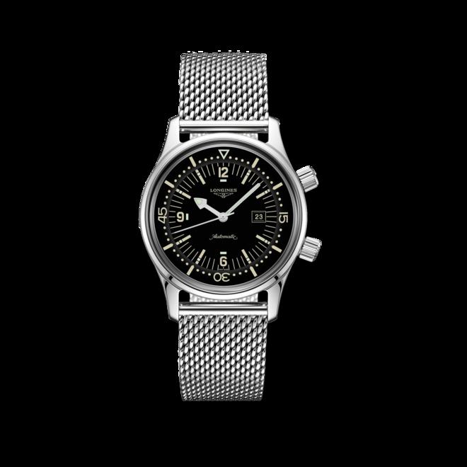 Armbanduhr Longines Legend Diver Automatik 36mm mit schwarzem Zifferblatt und Edelstahlarmband bei Brogle