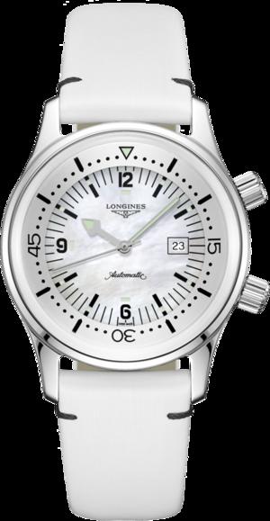 Armbanduhr Longines Legend Diver Automatik 36mm mit perlmuttfarbenem Zifferblatt und Kalbsleder-Armband
