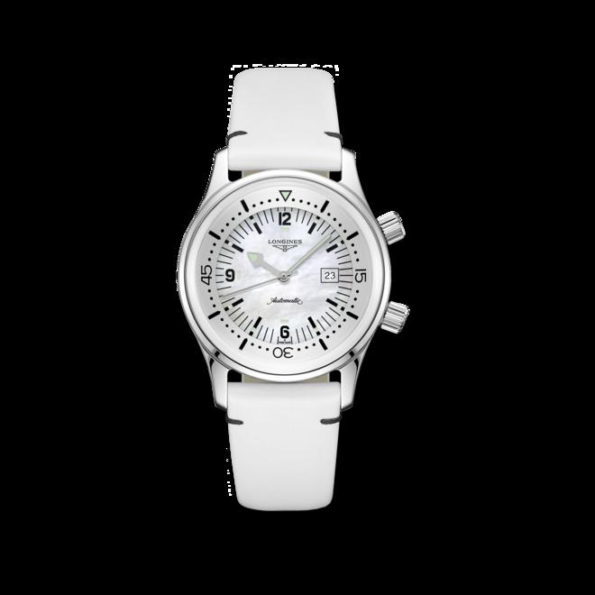 Armbanduhr Longines Legend Diver Automatik 36mm mit perlmuttfarbenem Zifferblatt und Kalbsleder-Armband bei Brogle