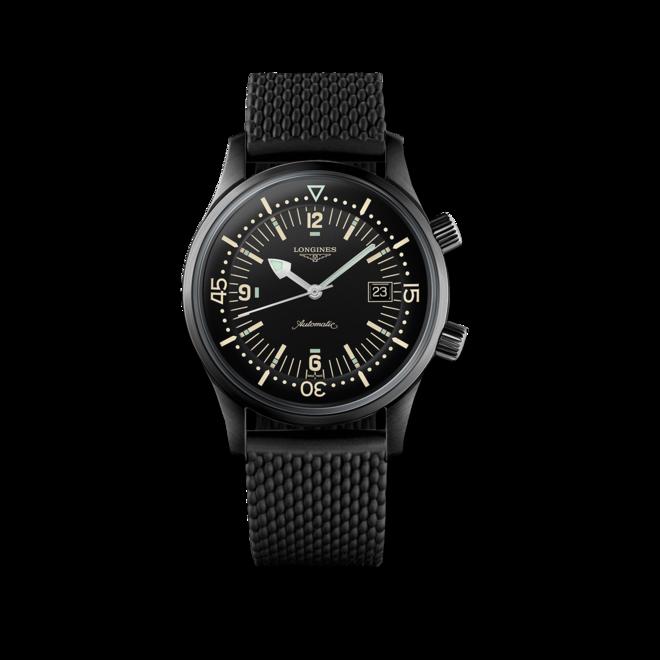 Herrenuhr Longines Legend Diver Automatik 42mm mit schwarzem Zifferblatt und Kautschukarmband bei Brogle