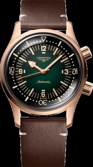 Herrenuhr Longines Legend Diver Watch mit grünem Zifferblatt und Kalbsleder-Armband