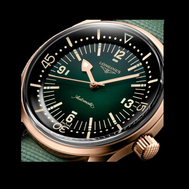 Herrenuhr Longines Legend Diver Watch mit grünem Zifferblatt und Kalbsleder-Armband bei Brogle
