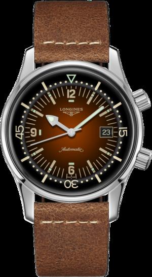Herrenuhr Longines Legend Diver Watch mit braunem Zifferblatt und Kalbsleder-Armband