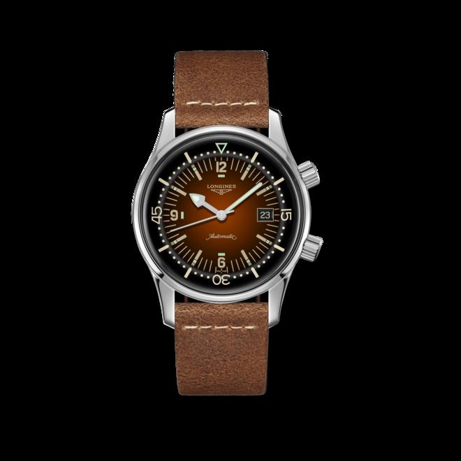Herrenuhr Longines Legend Diver Watch mit braunem Zifferblatt und Kalbsleder-Armband bei Brogle