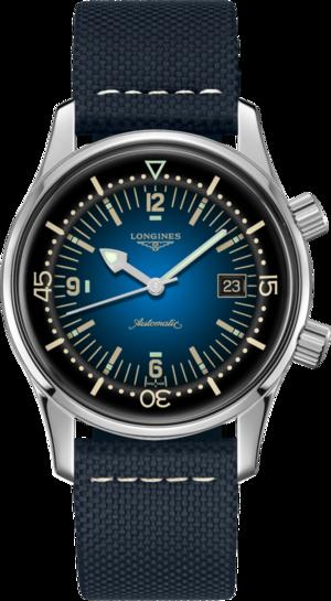 Herrenuhr Longines Legend Diver Watch mit blauem Zifferblatt und Kalbsleder-Armband