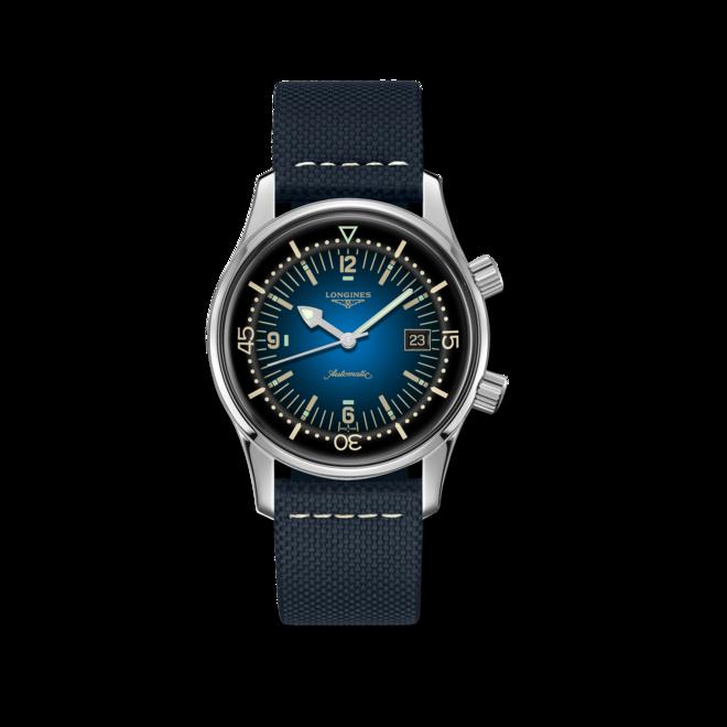 Herrenuhr Longines Legend Diver Watch mit blauem Zifferblatt und Kalbsleder-Armband bei Brogle