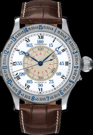 Herrenuhr Longines Lindbergh Hour Angle 47,5mm mit weißem Zifferblatt und Alligatorenleder-Armband