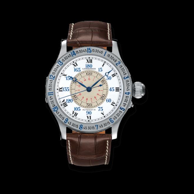 Herrenuhr Longines Lindbergh Hour Angle 47,5mm mit weißem Zifferblatt und Alligatorenleder-Armband bei Brogle