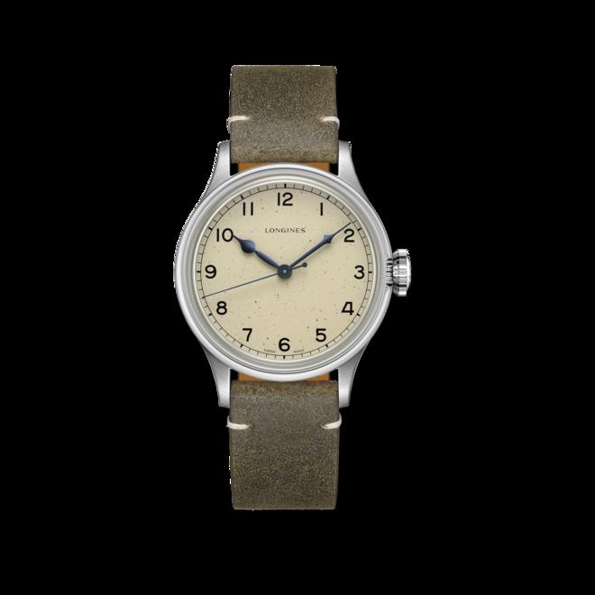 Armbanduhr Longines Military Watch mit beigefarbenem Zifferblatt und Kalbsleder-Armband bei Brogle