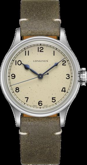 Armbanduhr Longines Military Watch mit beigefarbenem Zifferblatt und Kalbsleder-Armband