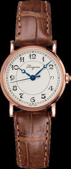 Damenuhr Longines Présence Heritage 26,5mm mit silberfarbenem Zifferblatt und Alligatorenleder-Armband