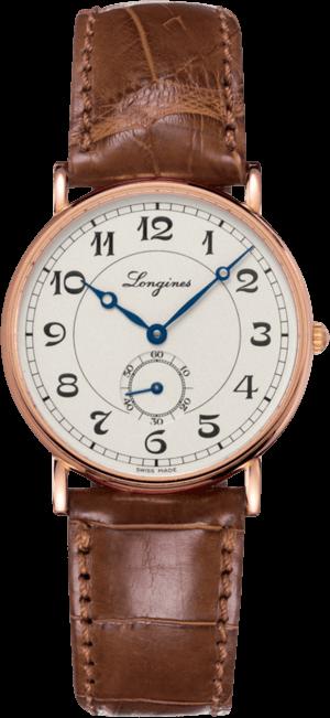 Damenuhr Longines Présence Heritage 34mm mit silberfarbenem Zifferblatt und Alligatorenleder-Armband