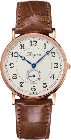 Armbanduhr Longines Présence Heritage 38,5mm mit silberfarbenem Zifferblatt und Alligatorenleder-Armband