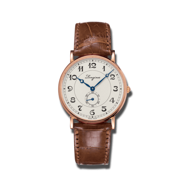 Armbanduhr Longines Présence Heritage 38,5mm mit silberfarbenem Zifferblatt und Alligatorenleder-Armband bei Brogle