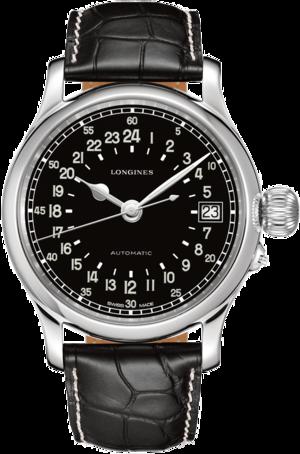 Herrenuhr Longines Twenty-Four Hours 47,5mm mit schwarzem Zifferblatt und Alligatorenleder-Armband