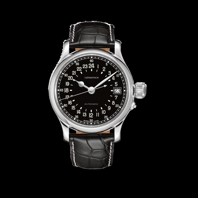 Herrenuhr Longines Twenty-Four Hours 47,5mm mit schwarzem Zifferblatt und Alligatorenleder-Armband bei Brogle