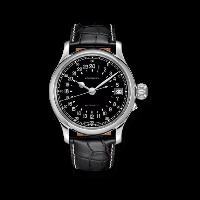 Herrenuhr Longines Twenty-Four Hours mit schwarzem Zifferblatt und Alligatorenleder-Armband