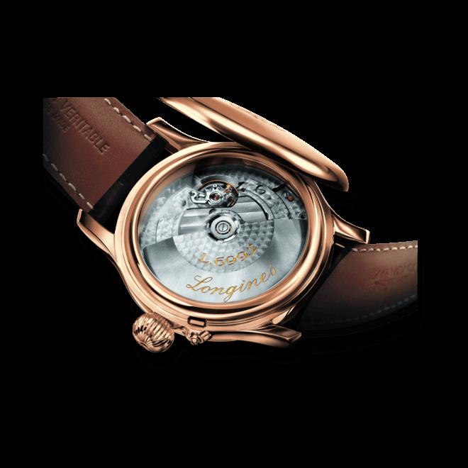 Herrenuhr Longines Weems Second-Setting 47,5mm mit weißem Zifferblatt und Alligatorenleder-Armband