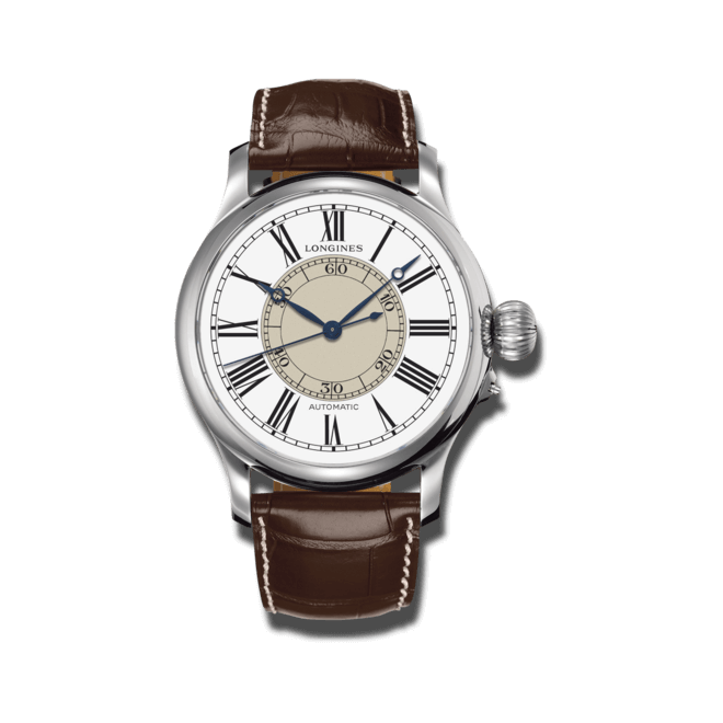 Herrenuhr Longines Weems Second-Setting mit weißem Zifferblatt und Alligatorenleder-Armband