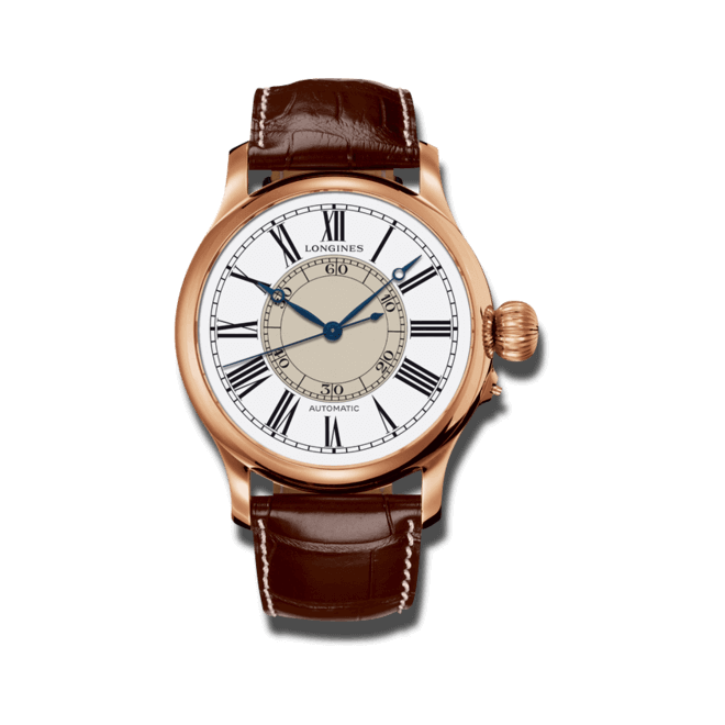 Herrenuhr Longines Weems Second-Setting mit weißem Zifferblatt und Alligatorenleder-Armband