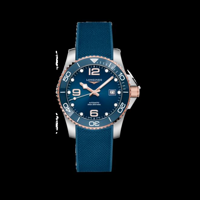 Herrenuhr Longines HydroConquest Automatik 41mm mit blauem Zifferblatt und Kautschukarmband bei Brogle