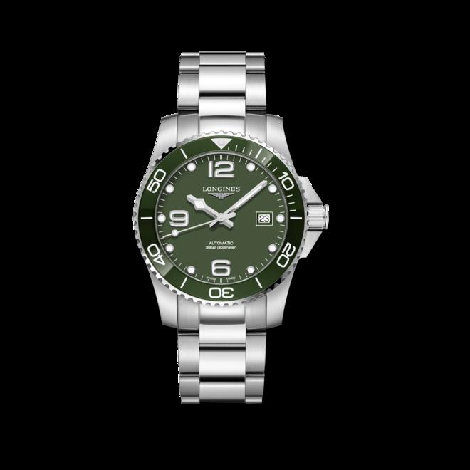 Herrenuhr Longines HydroConquest Automatik 41mm mit grünem Zifferblatt und Edelstahlarmband bei Brogle