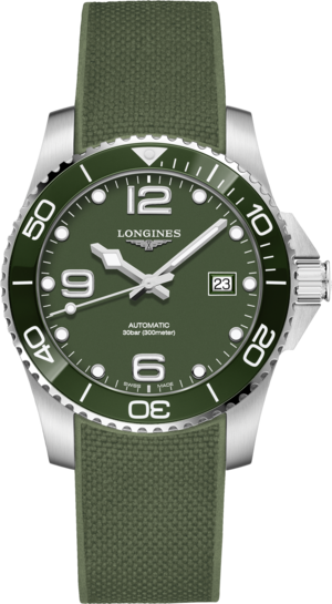 Herrenuhr Longines HydroConquest Automatik 41mm mit grünem Zifferblatt und Kautschukarmband