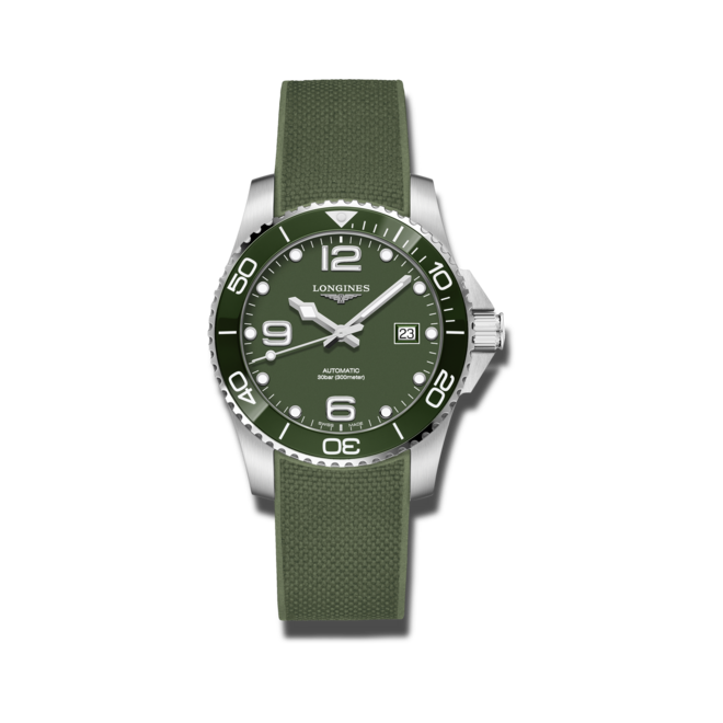 Herrenuhr Longines HydroConquest Automatik 41mm mit grünem Zifferblatt und Kautschukarmband bei Brogle