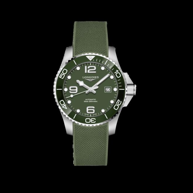 Herrenuhr Longines HydroConquest Automatik 43mm mit grünem Zifferblatt und Kautschukarmband bei Brogle
