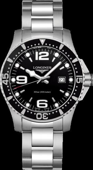 Armbanduhr Longines HydroConquest Quarz 39mm mit schwarzem Zifferblatt und Edelstahlarmband
