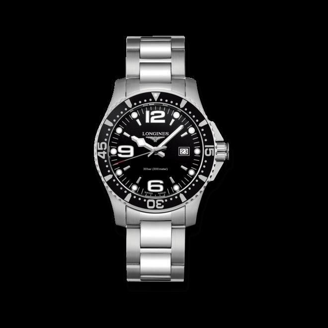 Armbanduhr Longines HydroConquest Quarz 39mm mit schwarzem Zifferblatt und Edelstahlarmband bei Brogle