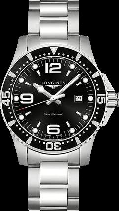 Herrenuhr Longines HydroConquest Quarz 44mm mit schwarzem Zifferblatt und Edelstahlarmband