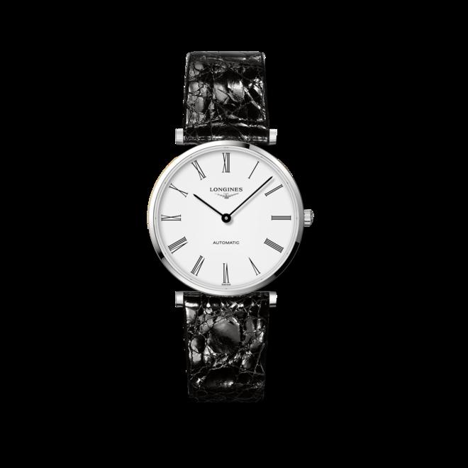 Armbanduhr Longines La Grande Classique Automatik 36mm mit weißem Zifferblatt und Alligatorenleder-Armband bei Brogle