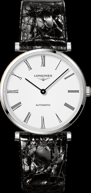 Armbanduhr Longines La Grande Classique Automatik 36mm mit weißem Zifferblatt und Alligatorenleder-Armband