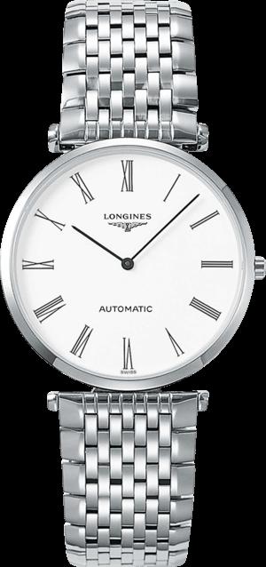 Damenuhr Longines La Grande Classique Automatik 36mm mit weißem Zifferblatt und Edelstahlarmband