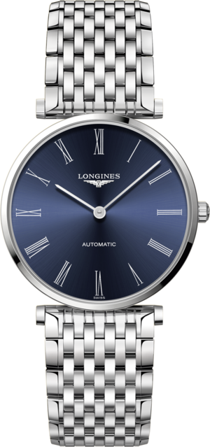 Damenuhr Longines La Grande Classique Automatik 36mm mit blauem Zifferblatt und Edelstahlarmband