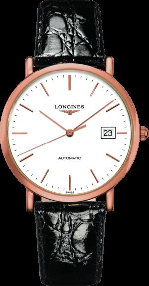 Herrenuhr Longines La Grande Classique Automatik 37mm mit weißem Zifferblatt und Alligatorenleder-Armband