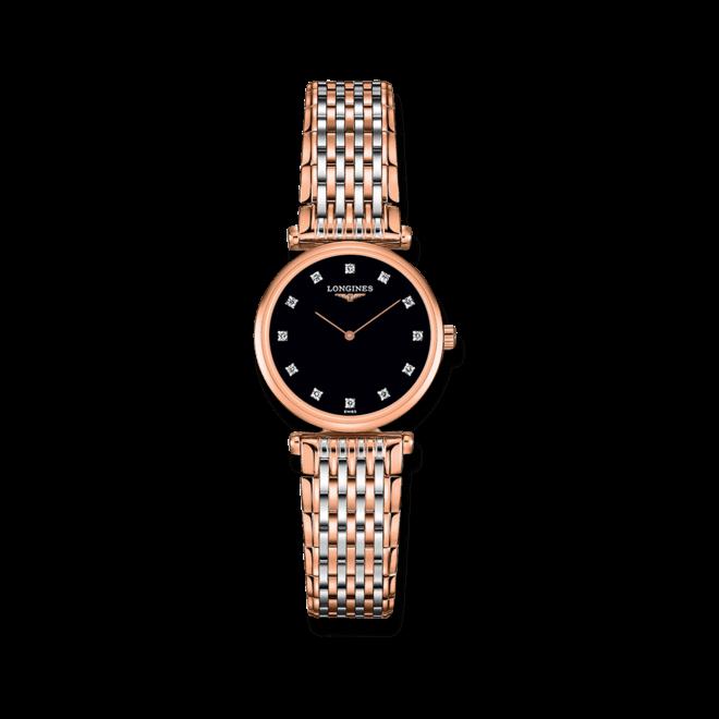 Damenuhr Longines La Grande Classique Quarz 24mm mit Diamanten, schwarzem Zifferblatt und Edelstahlarmband bei Brogle