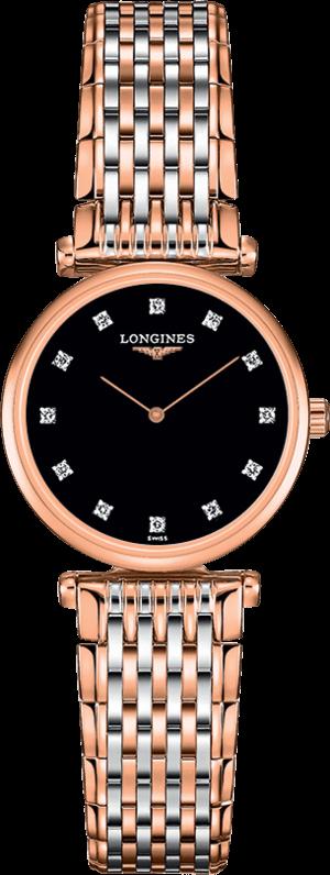 Damenuhr Longines La Grande Classique Quarz 24mm mit Diamanten, schwarzem Zifferblatt und Edelstahlarmband