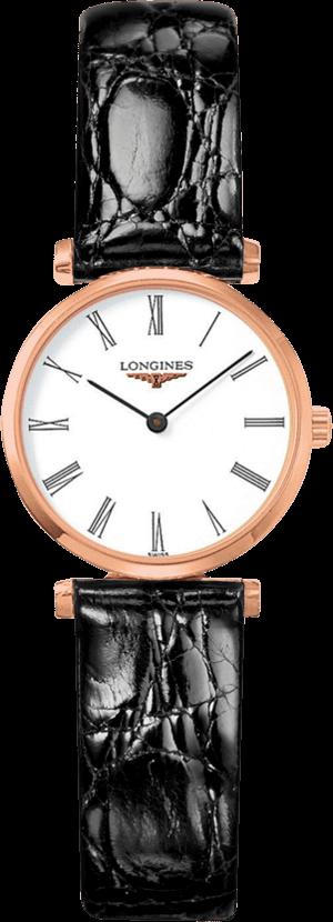 Damenuhr Longines La Grande Classique Quarz 24mm mit weißem Zifferblatt und Alligatorenleder-Armband