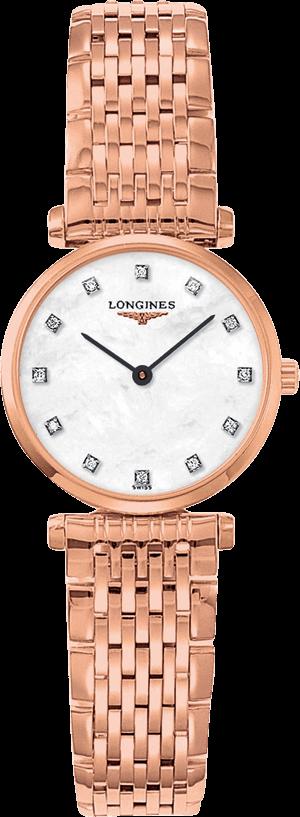 Damenuhr Longines La Grande Classique Quarz 24mm mit Diamanten, weißem Zifferblatt und Edelstahlarmband