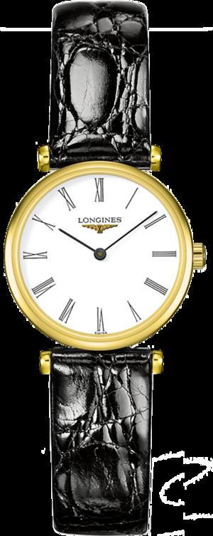 Damenuhr Longines La Grande Classique Quarz 24mm mit weißem Zifferblatt und Krokodilleder-Armband